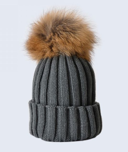 8048b4910a0 Hats   Grey Hat with Brown Fur Pom Pom Amelia Jane