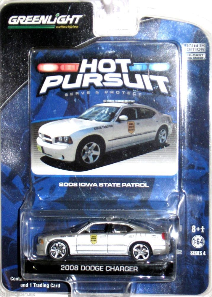 2008 Dodge Charger Iowa State Patrol Greenlight Hot Pursuit 1:64 Scale  Series 4