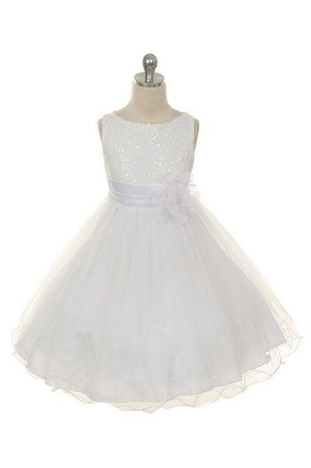 507bf75978e Amazon.com  Kids Dream White Sequin Double Mesh Flower Girl Dress Girls 2T-14   Kids Dream  Clothing