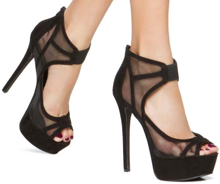 Sexy Skin-Baring Heels in Black and Red Mesh | Killer heels ...