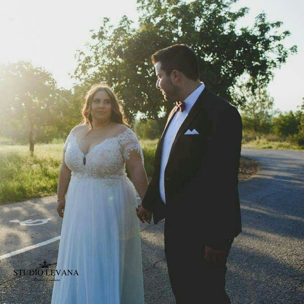Curvy Wedding Gown With A Lace Top Off Shoulder Short Sleeves And Flowy Chiffone Skirt Plus Size Wedding Gowns Curvy Bride Wedding Dress Long Sleeve