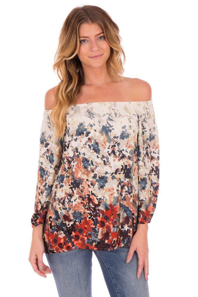 362a42e487 OFF SHOULDER FLORAL BLOUSE - ladies sheer blouses