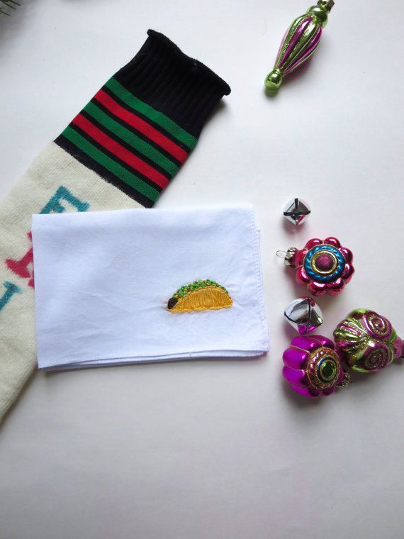 Hand Embroidered Taco Handkerchief Embroidered Food Gift Funny Handkerchief Gift Taco Tuesday Stocking Stuffer