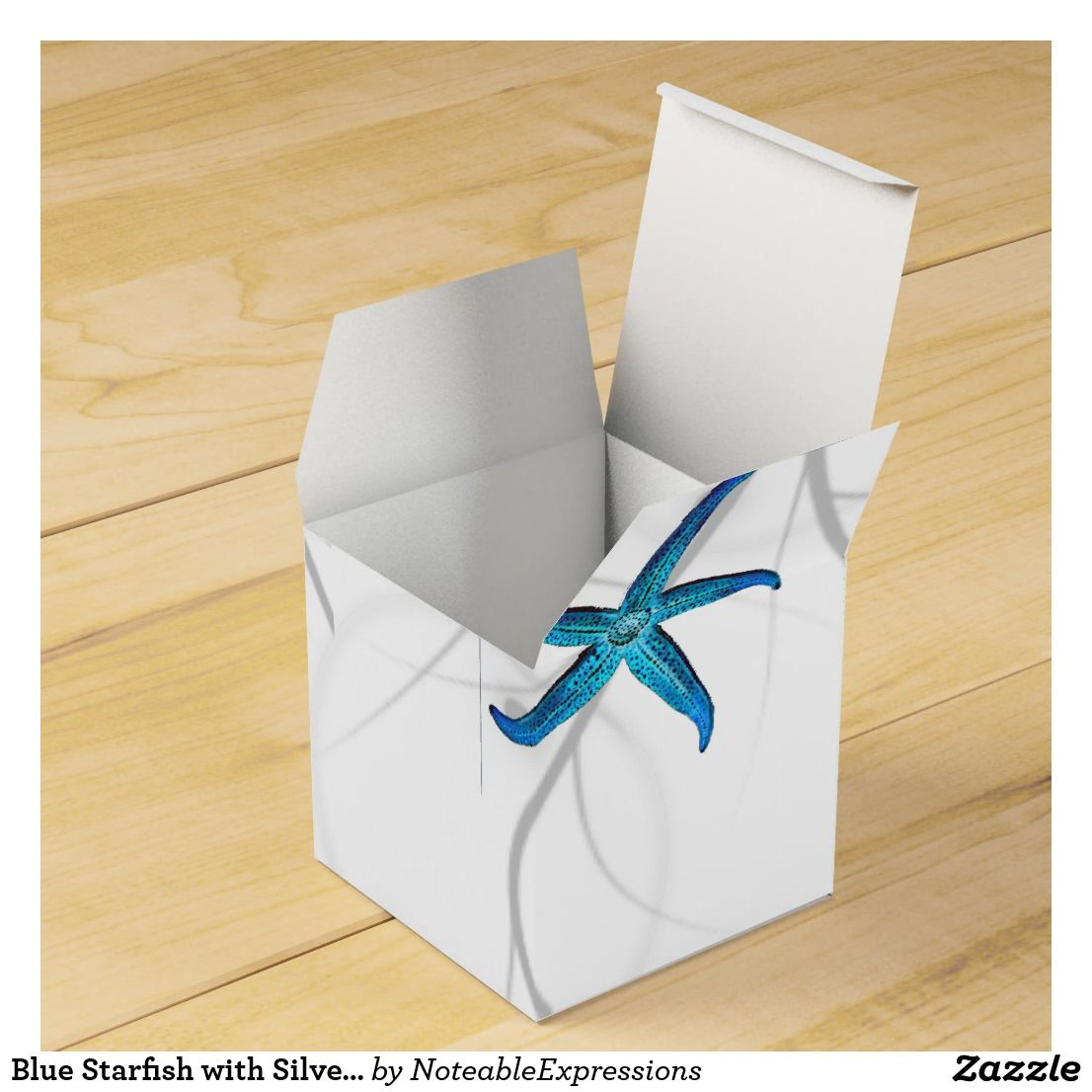 Blue Starfish with Silver Coral Wedding Favor Box | Wedding ...