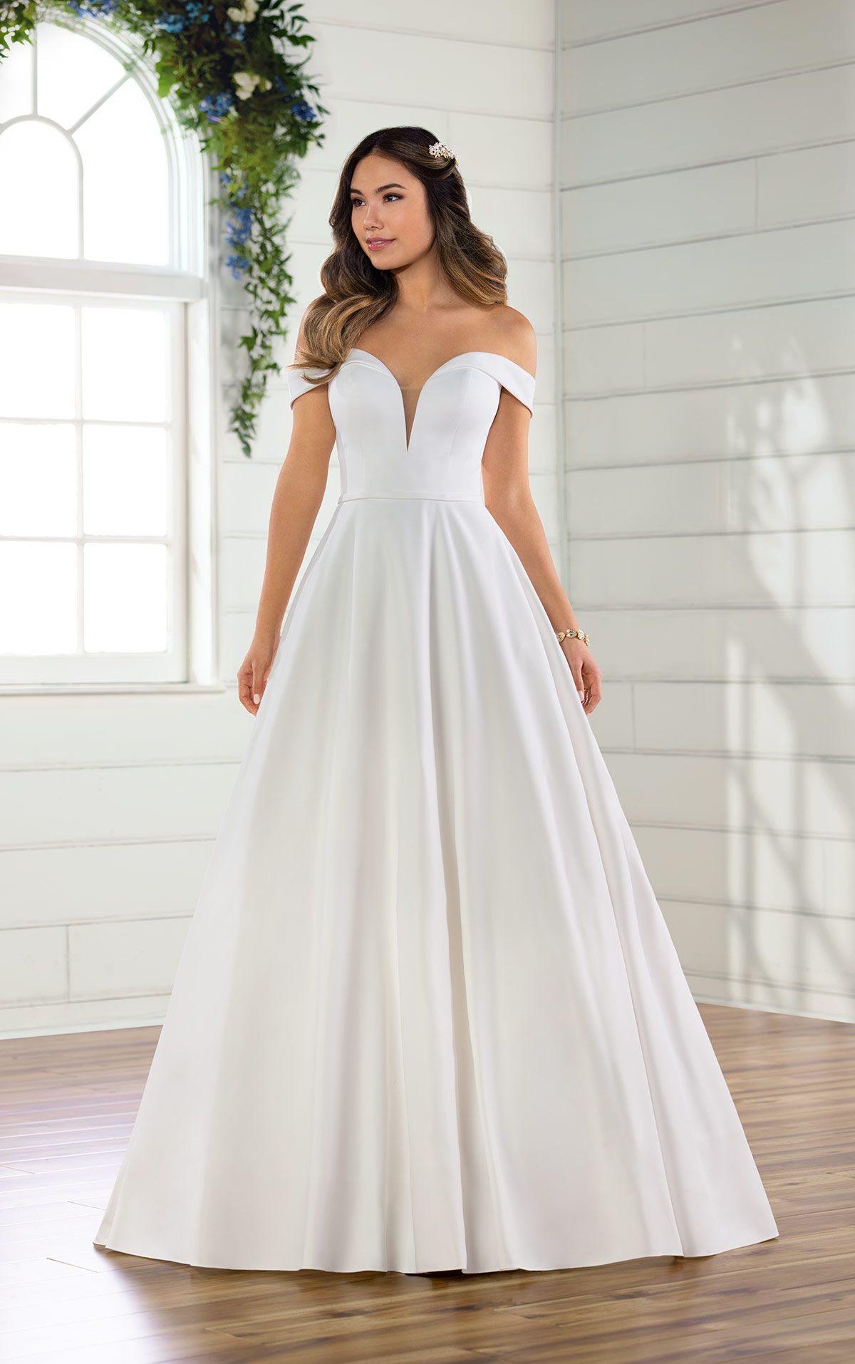 Essense Of Australia D2761 This Classic Satin Ballgown Features A Plunging Sweet Essense Of Australia Wedding Dresses Wedding Dresses Off Shoulder Ball Gown