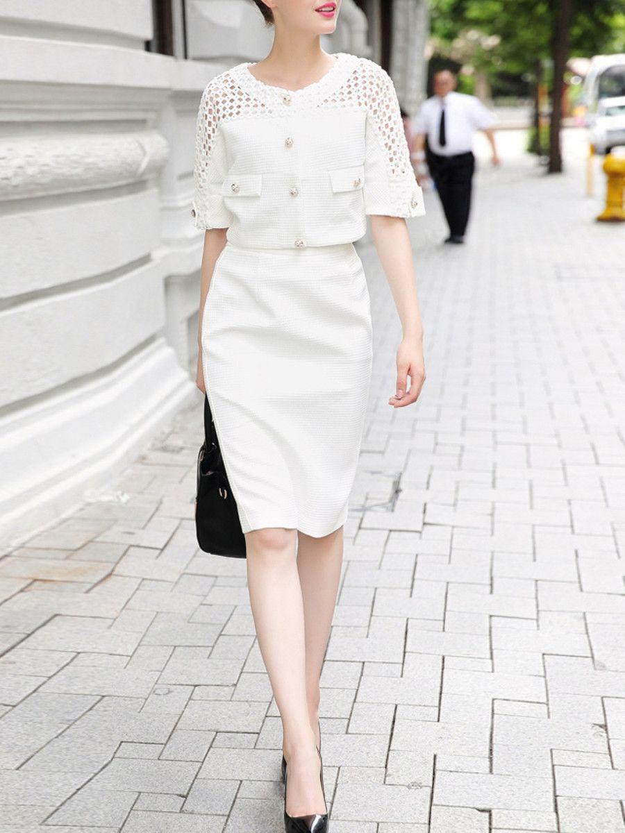 Pierced Polyester Knee Length dress