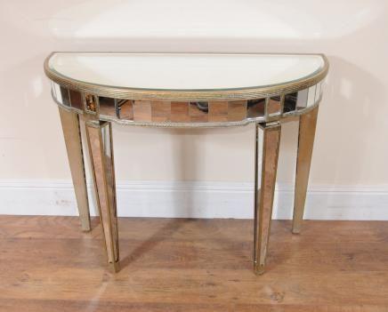 art deco mirrored console table demi lune tables