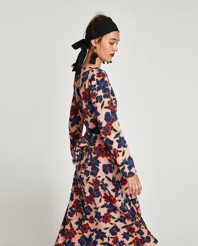 imagem 4 de vestido midi print floral da zara  kleider langärmliges kleid kleid mit ärmel