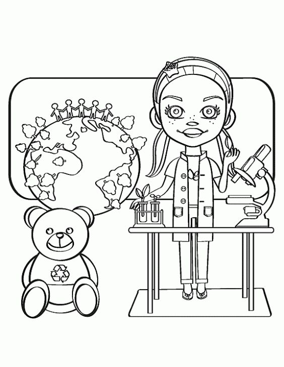 A Smart Science Girl Coloring Page Online Fun Coloring Pages