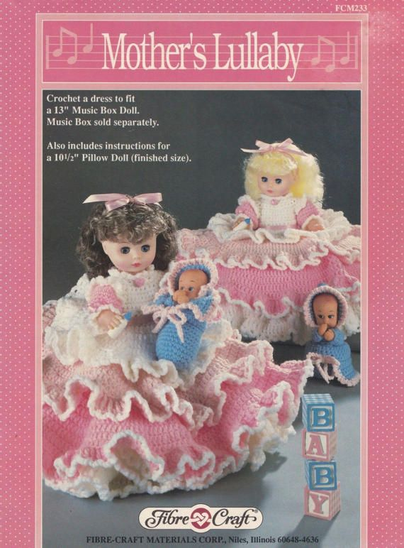 Mothers Lullaby Fibre Craft Crochet Doll Clothes Pattern Booklet