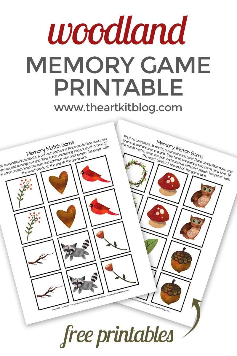 Woodland Memory Match Game {Free Printable} Memory match