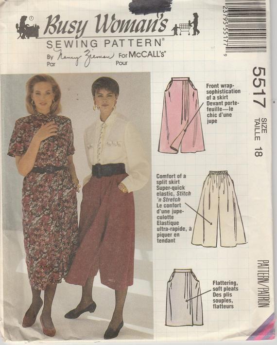 Split Skirt Pattern Mock Wrap Skirt 1990s Misses Size 18 Uncut Busy Womans 5517 McCalls