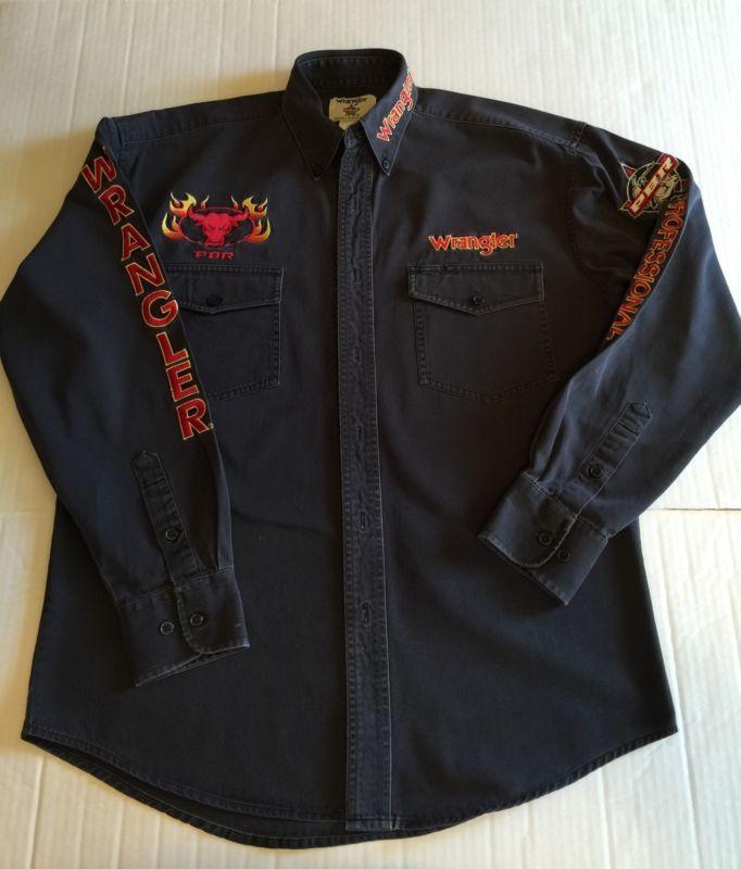 7361bdf0 WRANGLER PBR PROFESSIONAL BULL RIDERS Black Long Sleeve Shirt Medium ...