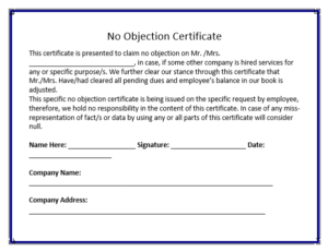 No Objection Certificate Template | Word, Excel U0026 PDF Templates
