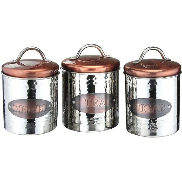 Apollo Copper Tea Coffe And Sugar Cannisters €29 ❤ liked on