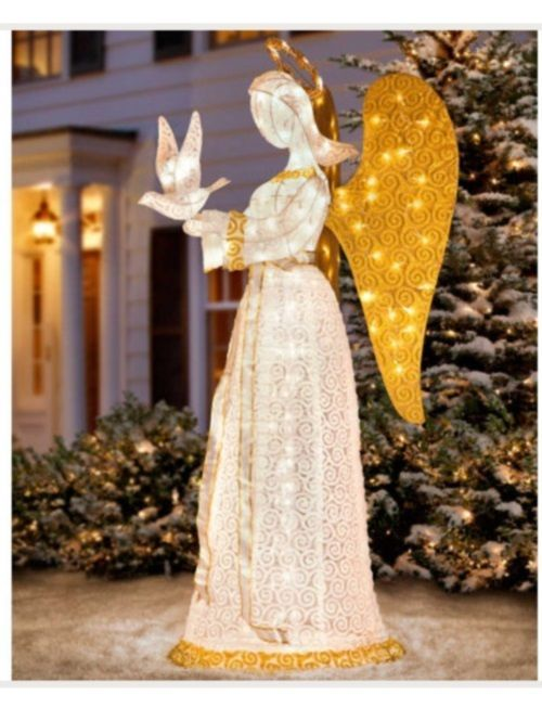 Christmas outdoor decoration lighted angel sculpture yard art life elegant angel with dove lighted outdoor christmas decor yard art nativity aloadofball Image collections