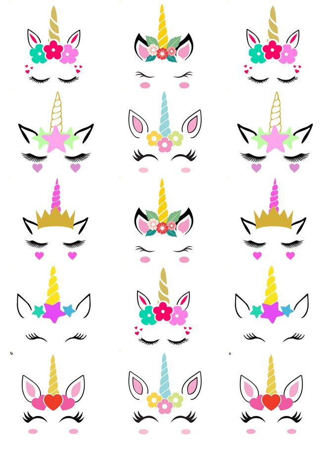 Unicorn Head Ears Horn Cupcake Toppers Edible Wafer Paper Fairy Cake Topper Unicorn Crafts Diy Unicorn Birthday Party Unicorn Cupcakes