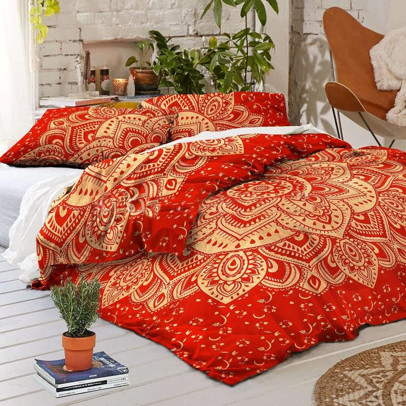 Indian Mandala Duvet//Doona//Quilt Cover Set Queen Size Boho Ethnic Bedding Throw