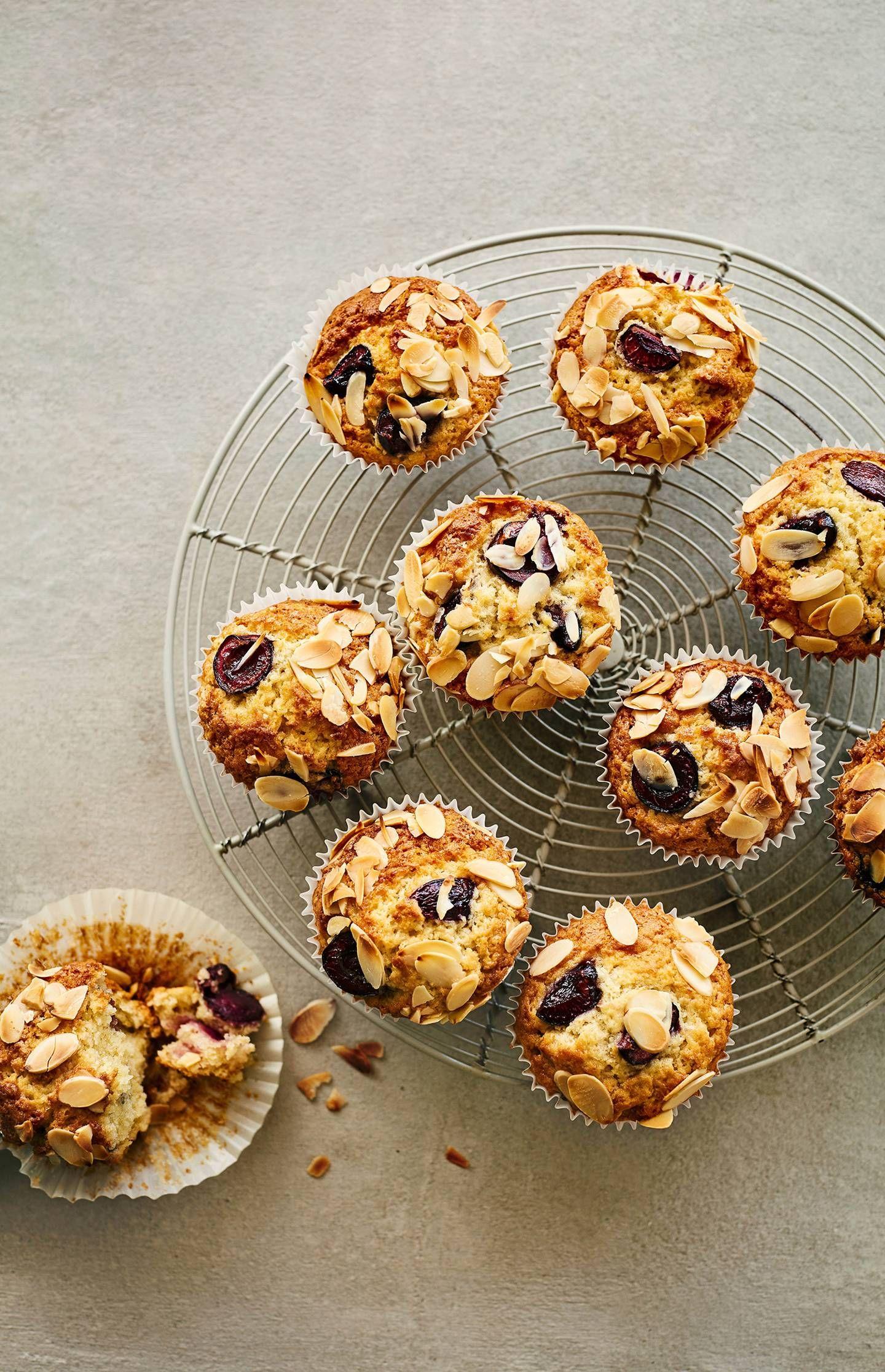Cherry almond bakewell muffins cherry almond dairy