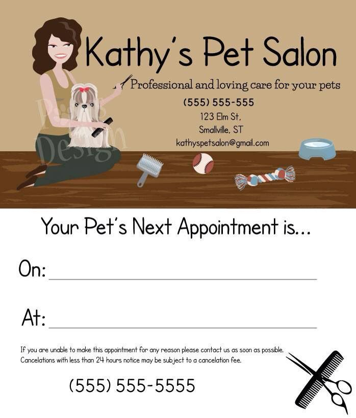 Business card front and back for Kathy\'s Pet Salon by Paws for ...