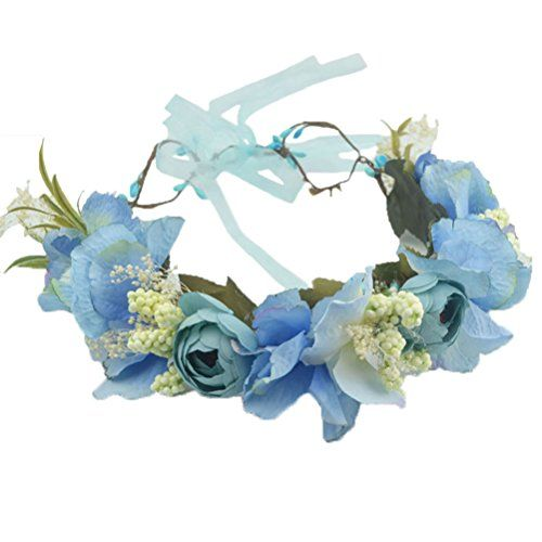 Waatcher  Vivivalue Flower Wreath Headband Crown Floral Garland with Ribbon  Boho for Festival Wedding Blue (B01N1H8B9Z)  Set your target price on Amazon 79e9e0f15fd