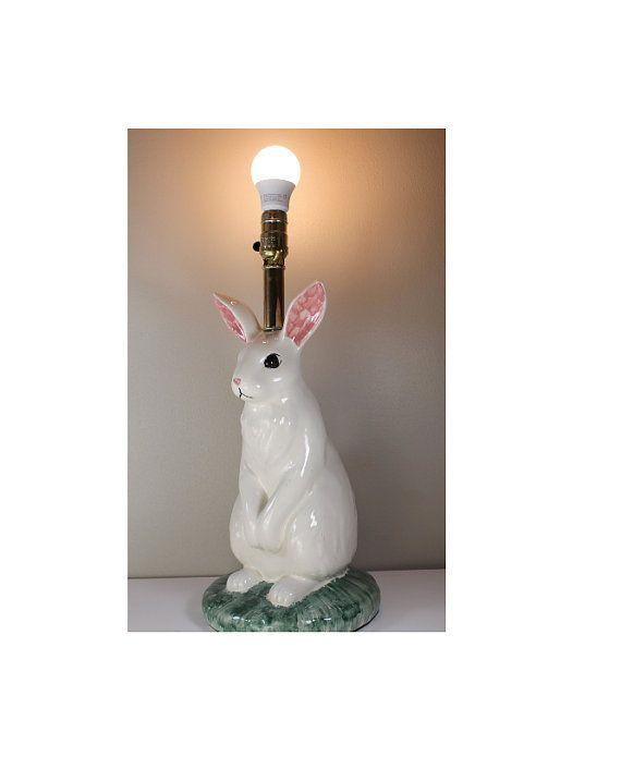 Vintage Table Lamp Ceramic Large Table Lamp Rabbit Lamp Bunny Table Lamp Whimsical Table Lamp Home Decor Lamp Vintage Table Lamp Table Lamp