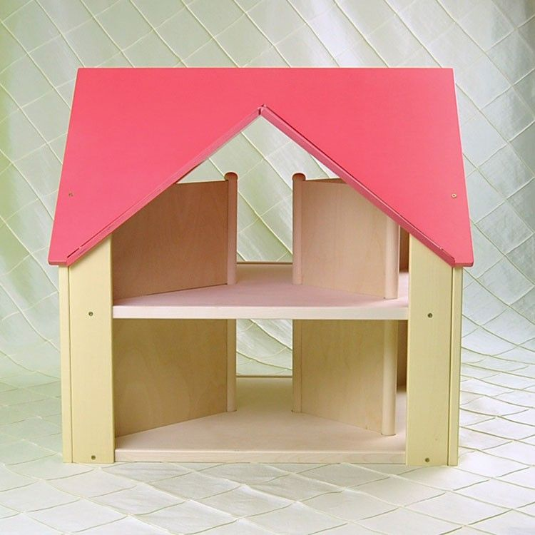 Once Upon A TreeHouse | Handmade wooden Custom Cottage dollhouse with dark pink roof & yellow sides $250.00