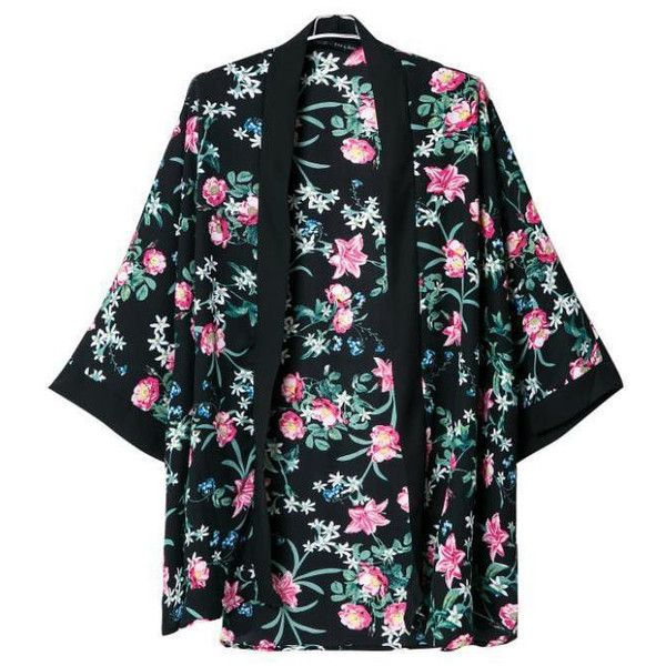 Floral Open Kimono ($28) ❤ liked on Polyvore featuring intimates, robes, floral kimono robe, floral print kimono, floral kimono, kimono robe and floral robe