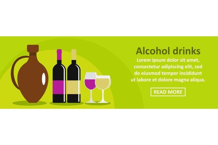 Alcohol Drinks Banner Horizontal Concept 497851 Icons Design Bundles In 2021 Alcoholic Drinks Alcohol Drinks