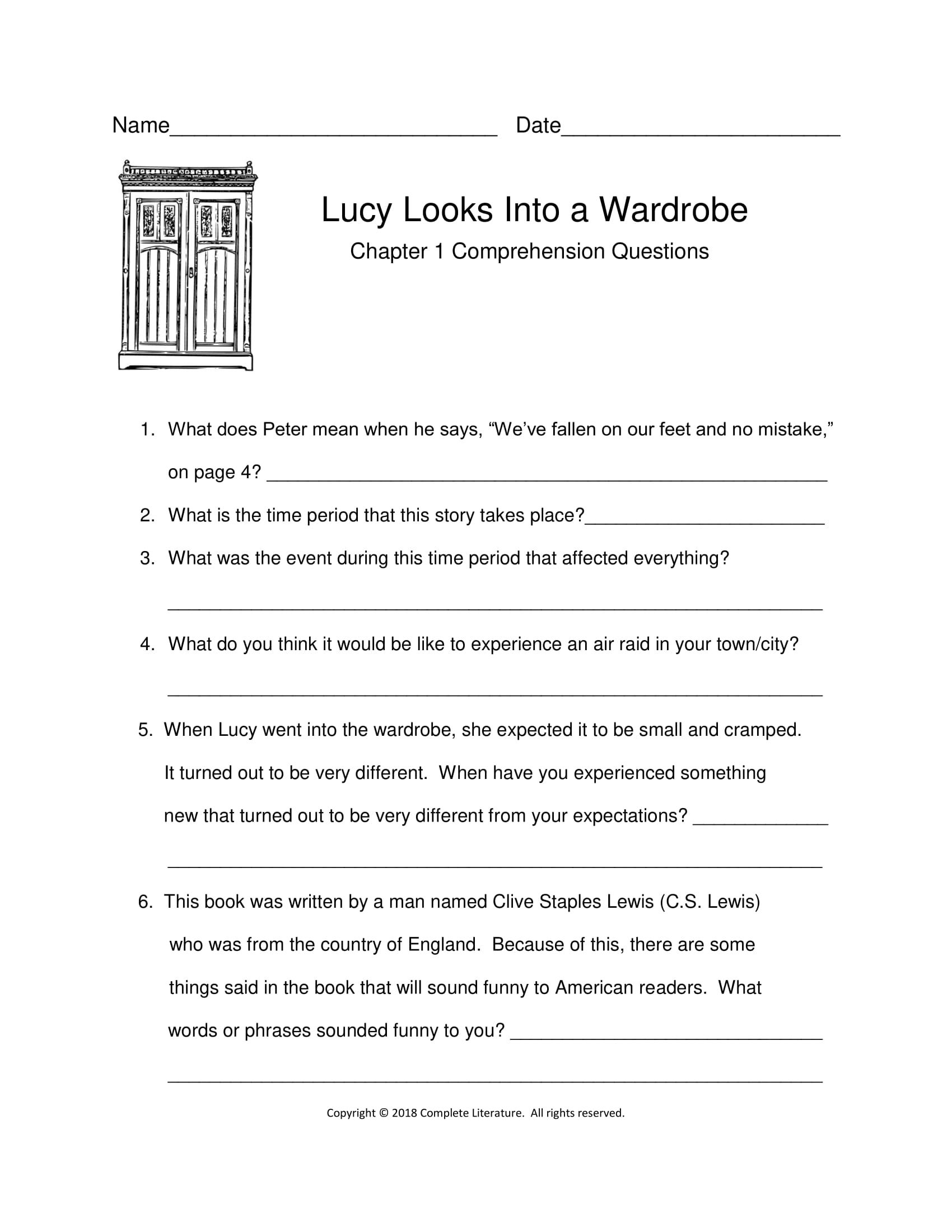 Chapter 1 Comprehension The Lion The Witch And The