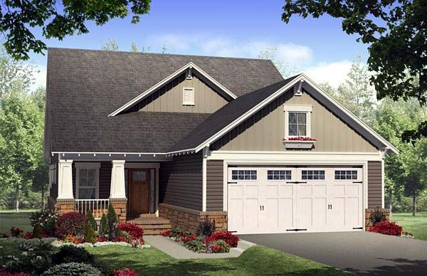 House plan 59168 country craftsman narrow lot plan with for Lake house plans with garage