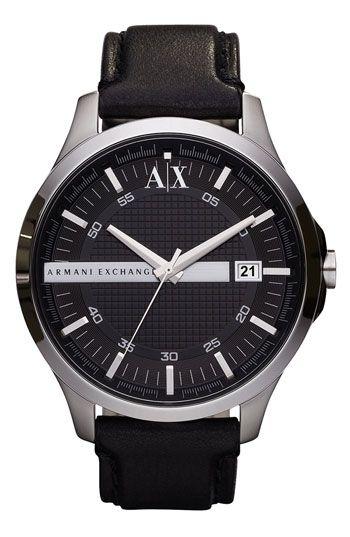 2e7eac347ea AX Armani Exchange  Whitman Platform  Leather Strap Watch ...