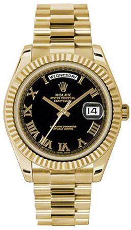 2c16c63e51ab4 Rolex Day-Date 41 Black Roman Numeral Dial Gold Watch 218238