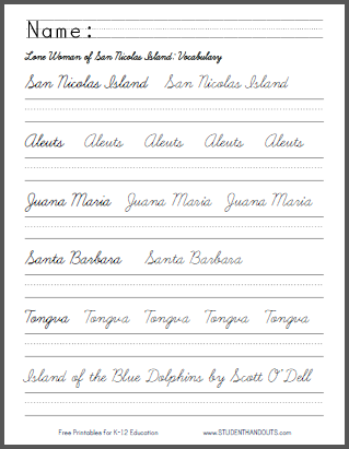 Island of the Blue Dolphins - Free Printable Worksheets ...