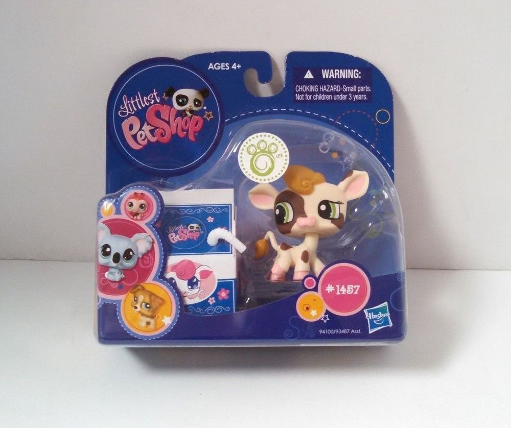 Littlest Pet Shop 1457 Cow With Milk Carton LPS Figure Hasbro