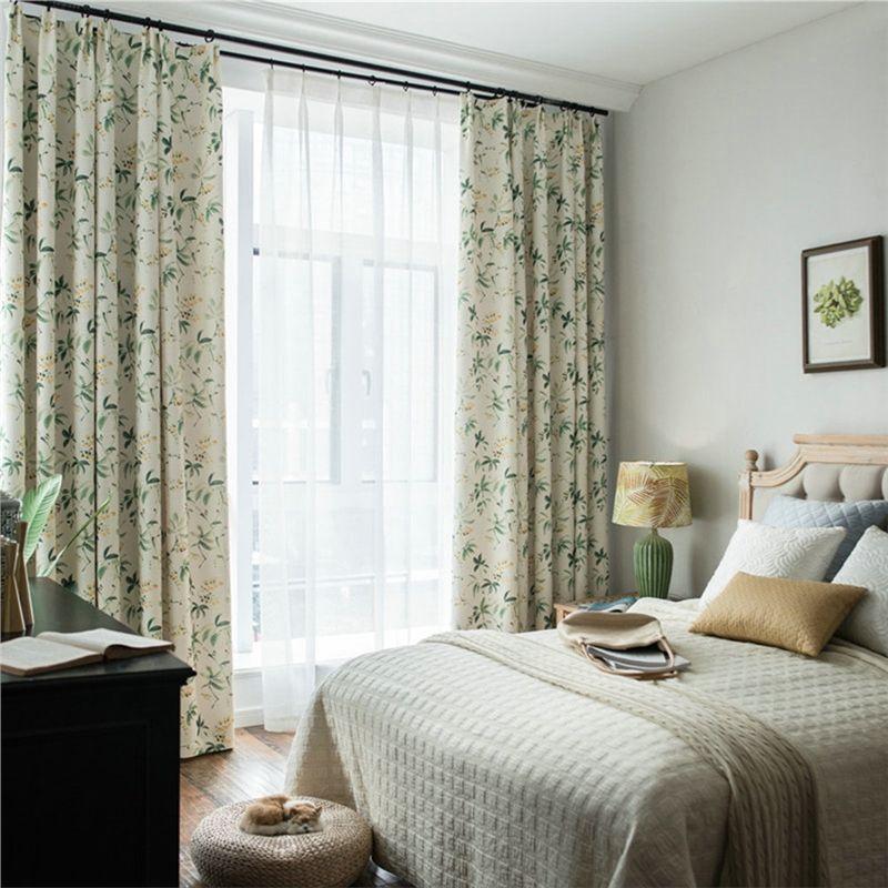 Rideau en coton lin ombrage imprimé feuille verte pour salon chambre