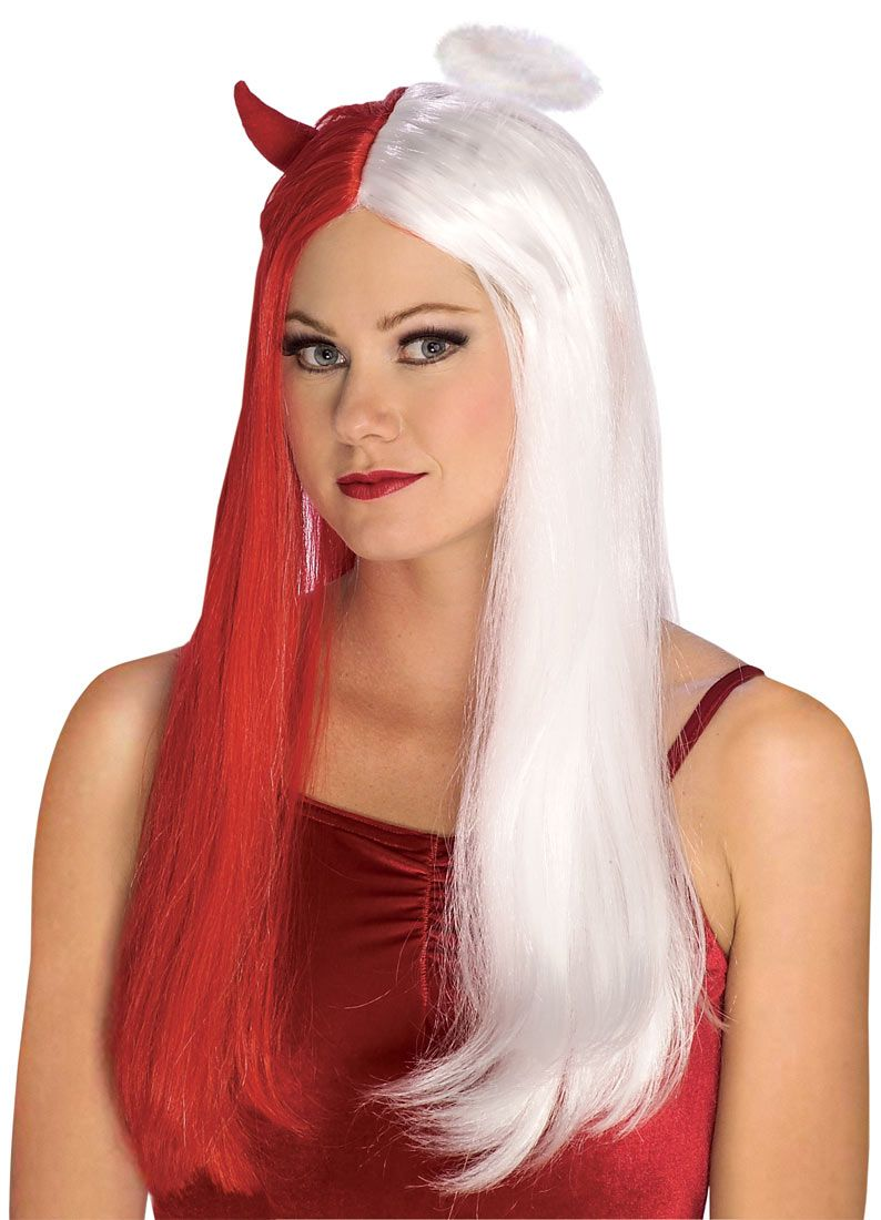 Red and White Devil & Angel Wig   Heaven or Hell Halloween Party ...