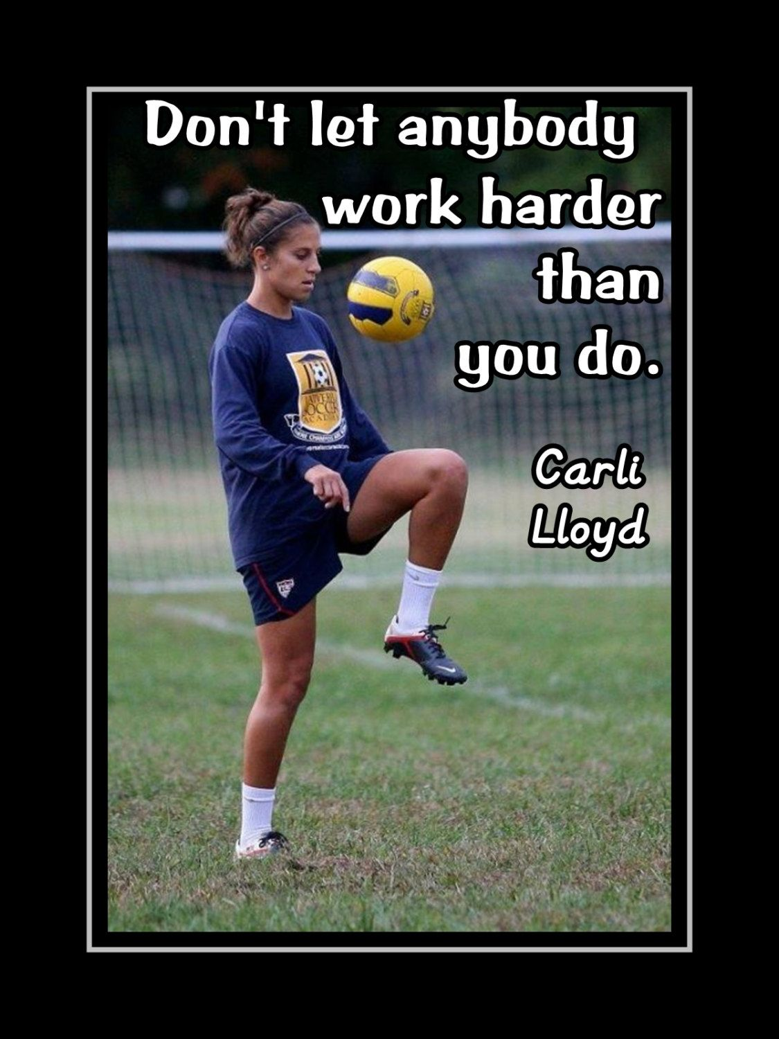Carli Lloyd Quotes Carli Lloyd Motivational Poster Soccer Art Gift Hard Work Quote