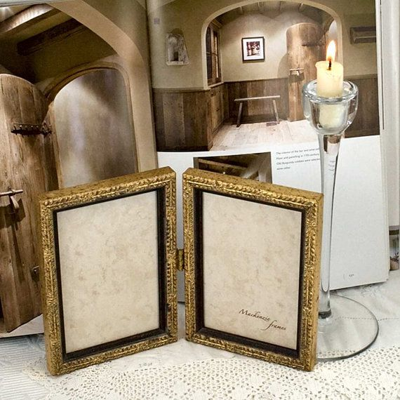 Pale Gold Hinged Double Frame Bridesmaids Wedding 50th Anniversary ...