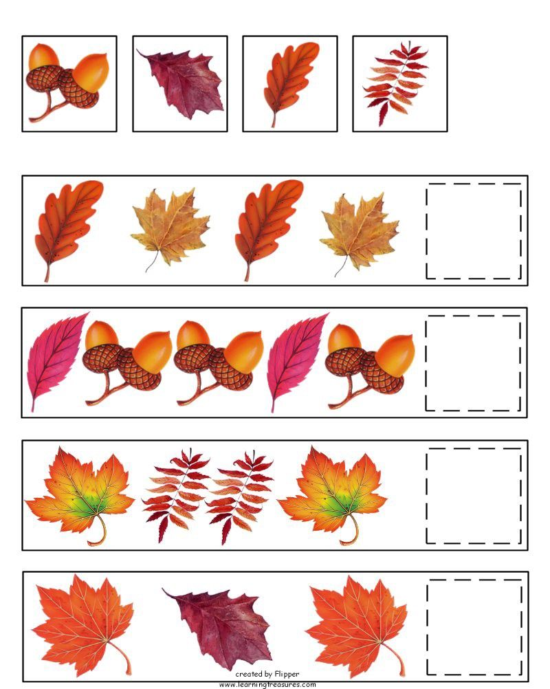 Fall Pattern Skills Math Worksheet by Learning Treasures – Fall Worksheets