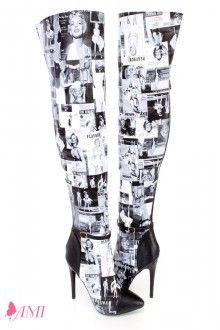 Black White Magazine Print Sexy Thigh High Boots Faux Suede ...