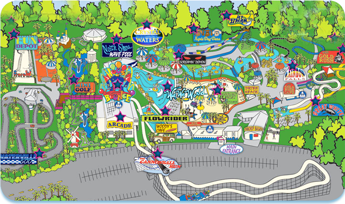 Waterpark and Amusement Park Attractions Waterville USA Gulf – Alabama Tourist Attractions Map