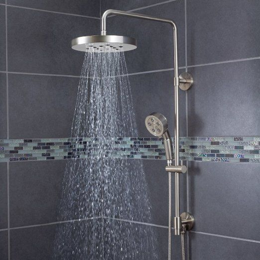 Speakman Round Rain Shower Head With Handheld Combo Shower System And  Adjustable Slide Bar, Brushed Nickel   Shower Arms And Sli.