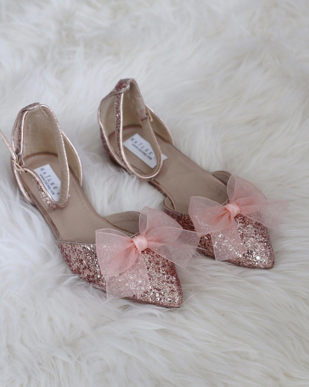 6e29d9f53505 Women Wedding Shoes Bridesmaid Shoes ROSE GOLD ROCK Glitter  weddingshoes