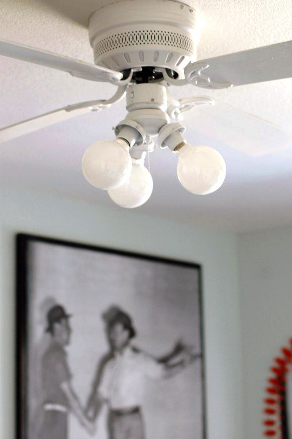 Updated Fan Ceiling Makeover, Replacing Ceiling Fan Light Bulb