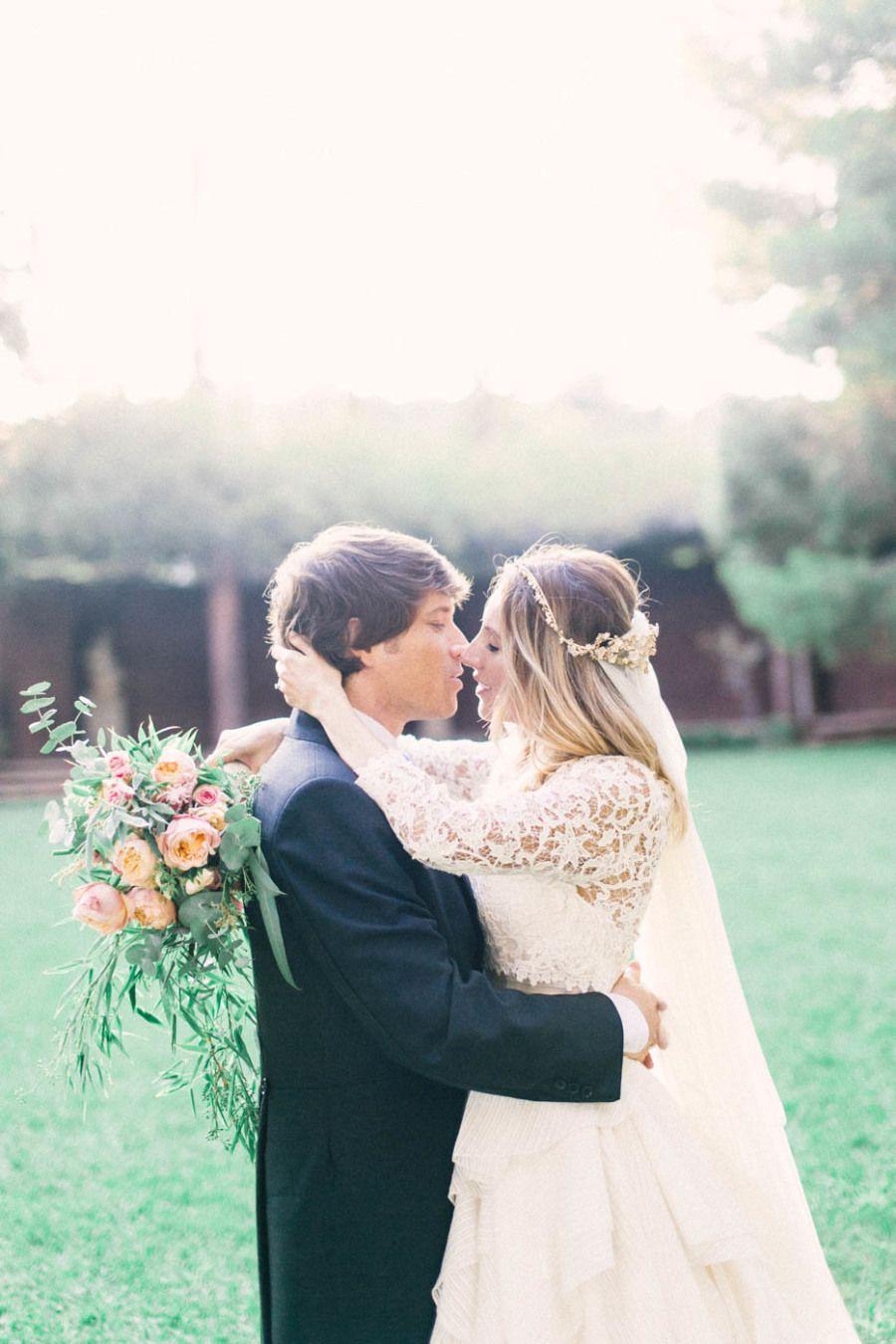 Photography : Joseba Sandoval - Romance Weddings - www.romanceweddings.co.uk Wedding Gown : Rosa Clará - www.rosaclara.es/es/   Read More on SMP: http://www.stylemepretty.com/2015/04/01/soft-pink-gold-barcelona-wedding/