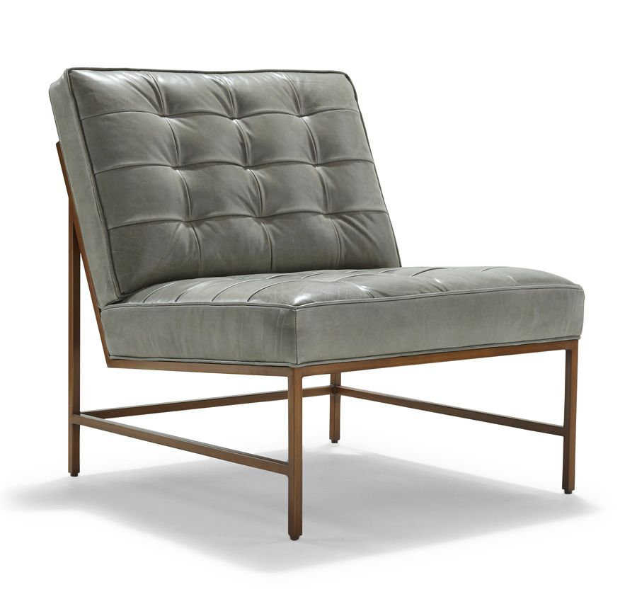 Jennifer Chair: Major Leather Chair Satin Brass Finish   Mitchell Gold +  Bob Williams:
