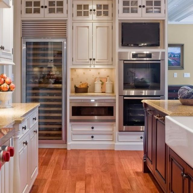 Like Double Oven Wit Built In Tv Above Cool White Kitchen