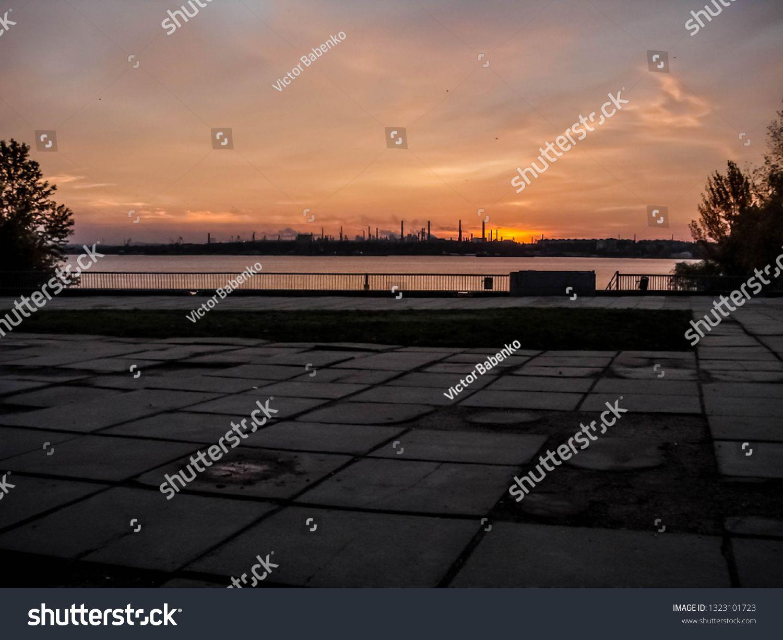 Sunrise over the industrial panorama of Zaporizhia