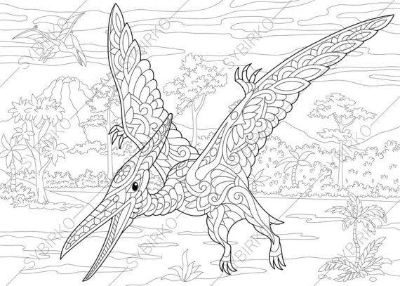 Pterodactyl Dinosaur Pterosaur Dino Coloring Pages Animal Etsy In 2021 Dinosaur Coloring Pages Animal Coloring Pages Dinosaur Coloring